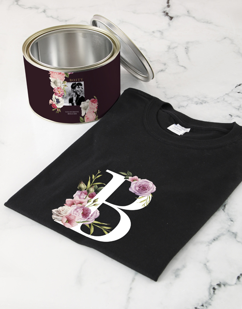 personalised: Personalised Peony Monogram Shirt In A Tin!
