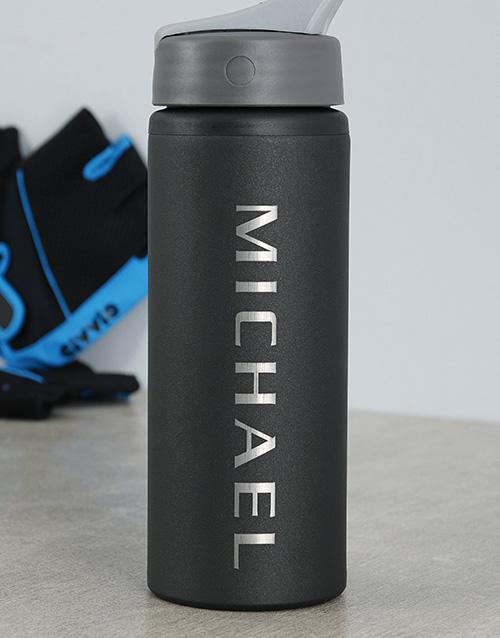 bosses-day: Personalised Black Aluminum Water Bottle!