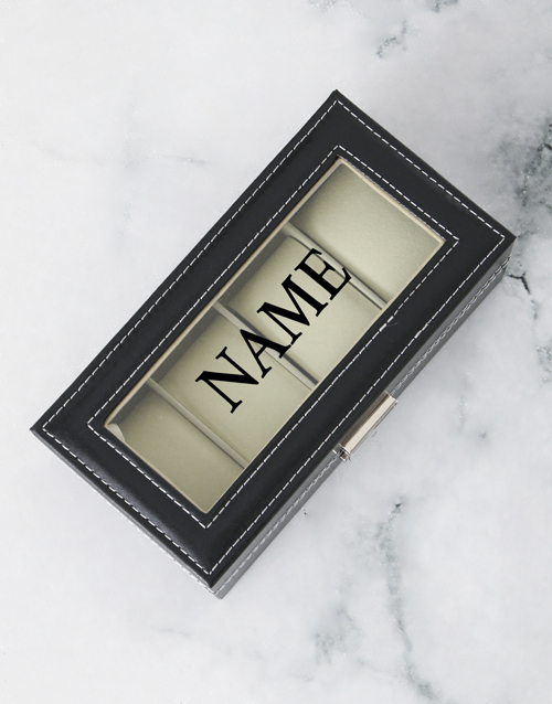 love-and-romance: Personalised Black 4 Holder Watch Box!