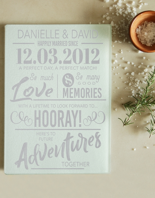 homeware: Personalised Happily Married Glass Chopping Board!