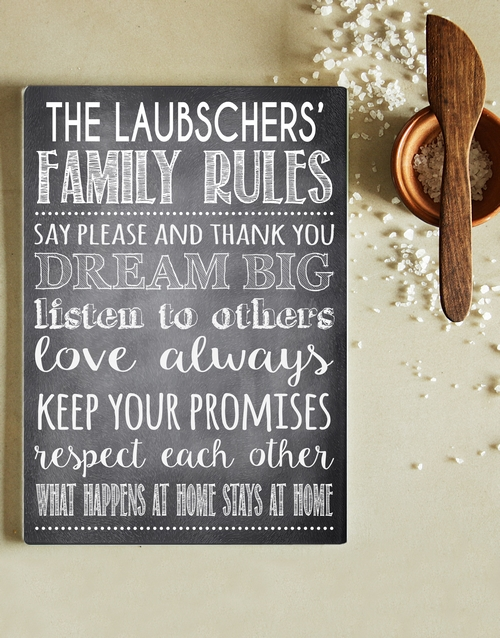 homeware: Personalised Family Rules Glass Chopping Board!