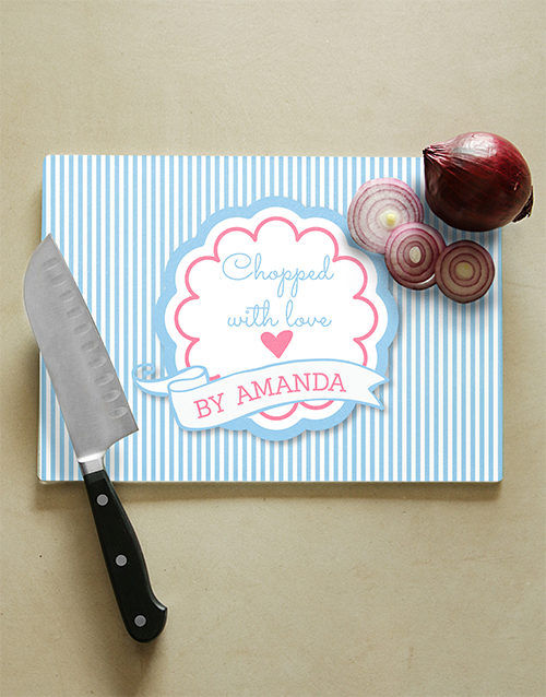 homeware: Personalised With Love Glass Chopping Board!