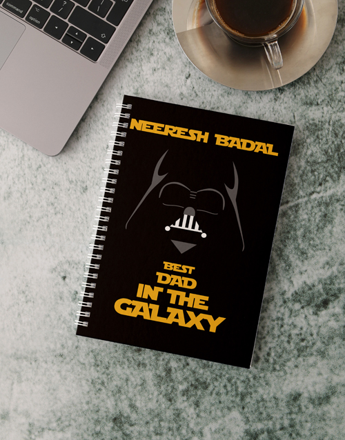fathers-day: Personalised Best Dad Galaxy Notebook!