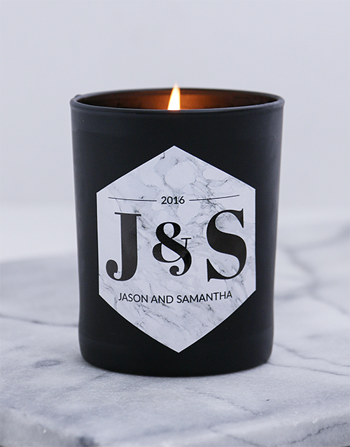 anniversary: Personalised Black Gold Anniversary Candle!