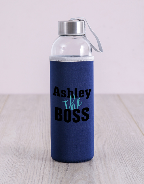 bosses-day: Personalised Black The Boss Water Bottle!