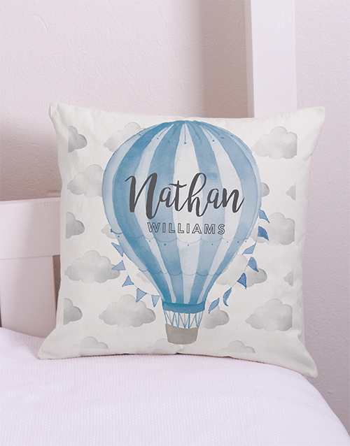 baby: Personalised Blue Air Balloon Scatter Cushion!