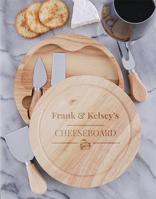 christmas: Personalised Vintage Round Cheeseboard and Knives!