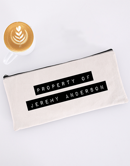 pencil-cases: Personalised Property Of Pencil Bag!