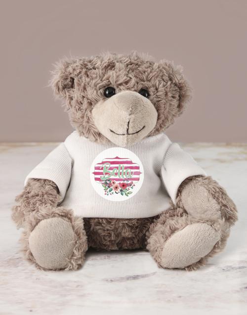 teddy-bears:  Personalised Floral Jersey Teddy!