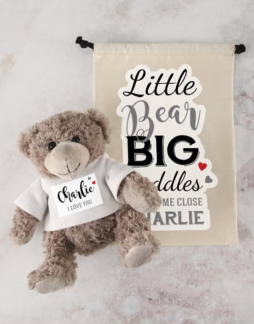 teddy-bears: Personalised Big Cuddles Teddy and Drawstring Bag!