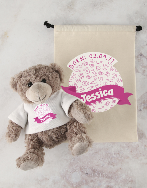 teddy-bears: Personalised New Baby Teddy and Drawstring Bag!