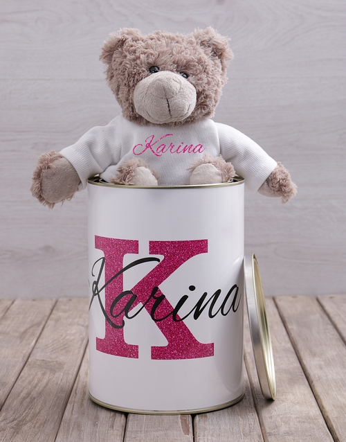 mothers-day: Personalised Name Teddy Tin!