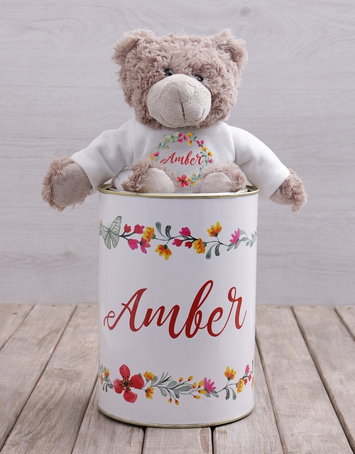 mothers-day: Personalised Floral Teddy Tin!