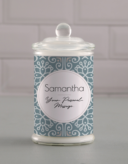 gifts: Personalised Blue Pattern Candle Jar!