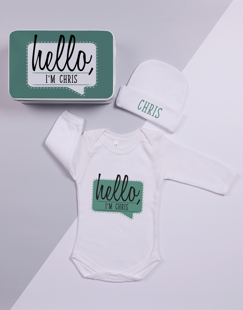 apparel: Personalised Keepsake Hello Tin Gift Set!