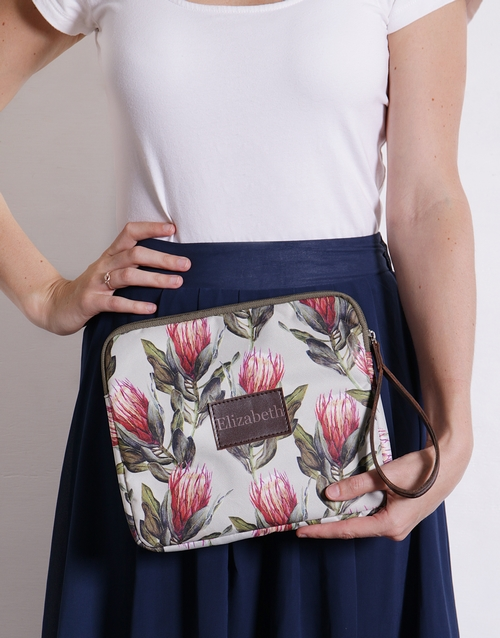 spring-day: Personalised Protea Tablet Zip Up Pouch!