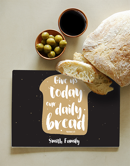 personalised: Personalised Daily Bread Glass Chopping Board!