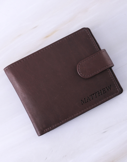 fathers-day: Personalised Busby Pygmy Brown Billfold Wallet!