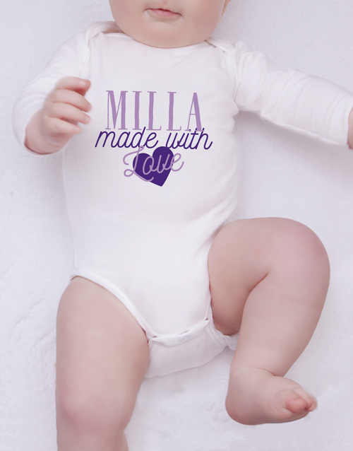 apparel: Personalised Made With Love Onesie!
