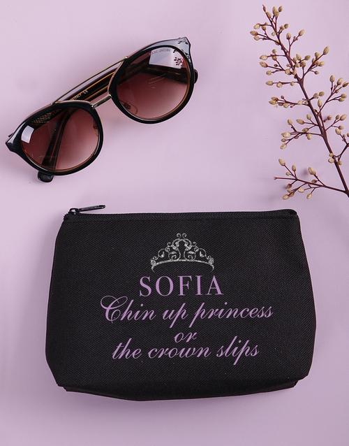 christmas: Personalised Chin Up Princess Cosmetic Bag!