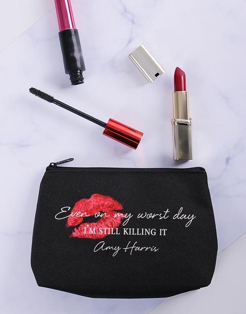 christmas: Personalised Still Killing It Cosmetic Bag!