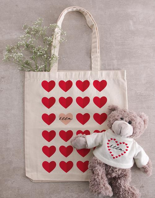 personalised: Personalised Heart Teddy in Tote Bag!