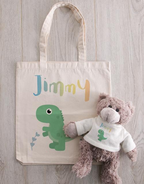 personalised: Personalised Teddy in Dinosaur Tote Bag!