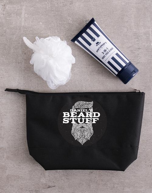 fathers-day: Personalised Gents Beard Stuff Wash Bag!