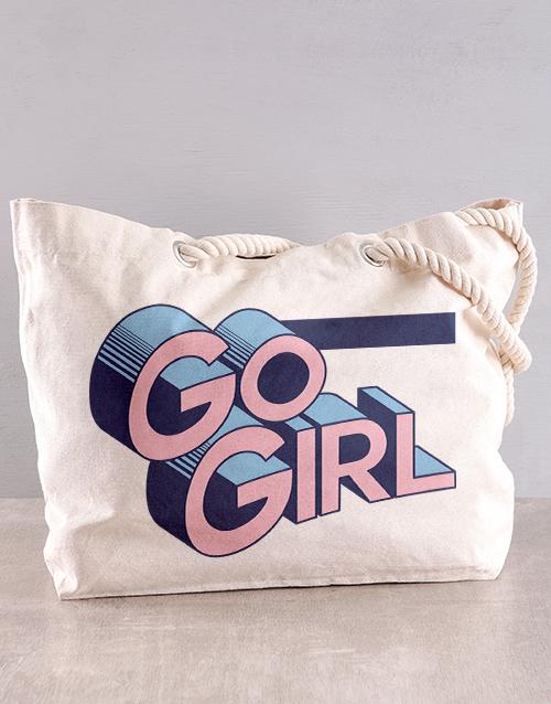 personalised: Personalised Go Girl Beach Bag!