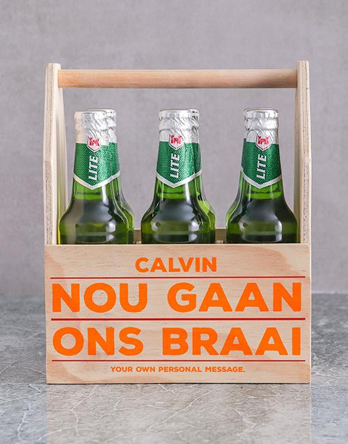 gifts: Personalised Braai Printed Beer Crate!