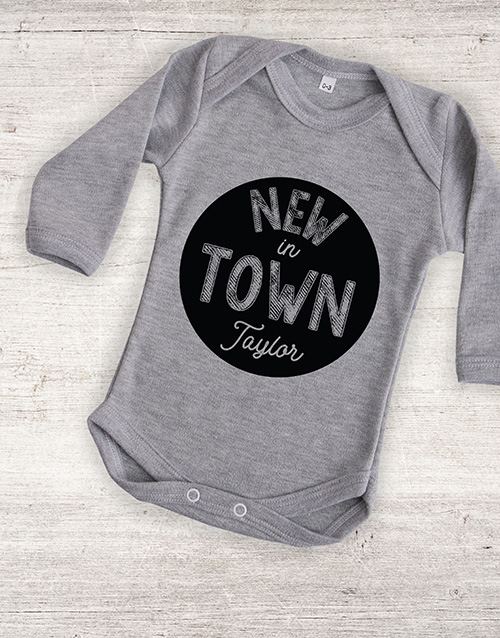 apparel: Personalised New In Town Onesie!
