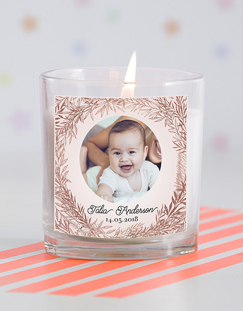 baby: Personalised Pic in a Wreath Baby Candle !