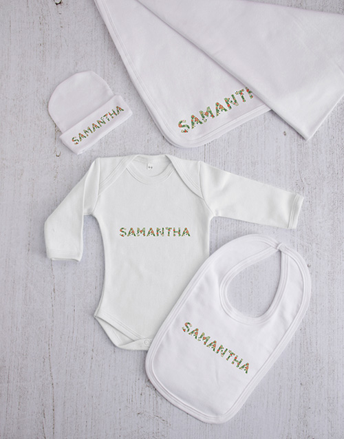 apparel: Personalised Floral Font Clothing Gift Set!