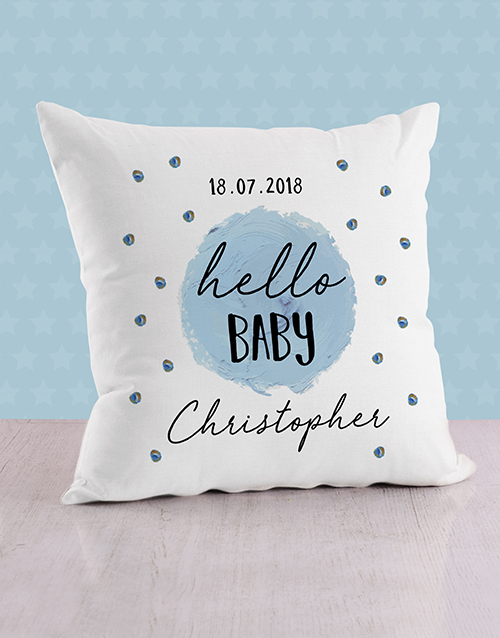personalised: Personalised Blue Dots Baby Scatter Cushion!