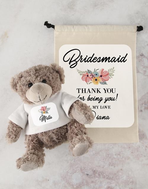 teddy-bears: Teddy in Bride Drawstring Bag!