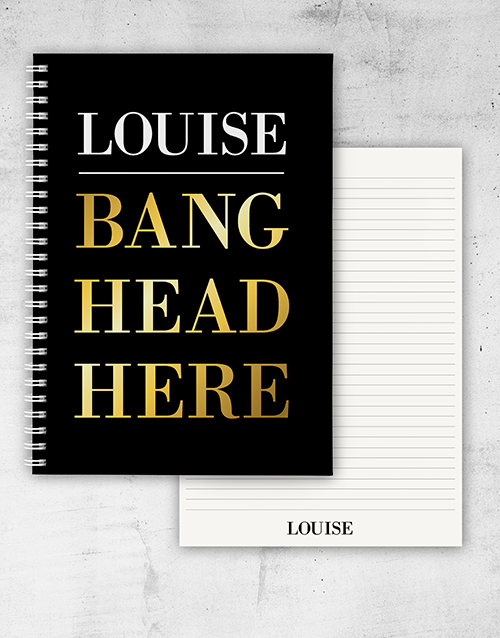 bosses-day: Personalised Bang Head Here Notebook!
