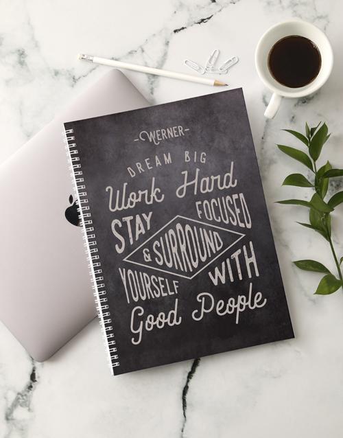 christmas: Personalised Work Hard Notebook!