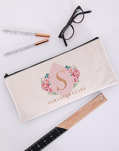 pencil-cases: Personalised Floral Initial Pencil Bag!