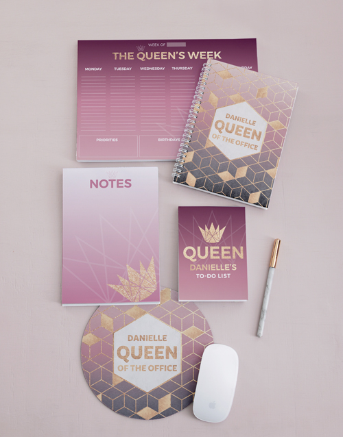 christmas: Personalised Office Queen Take Note Set!