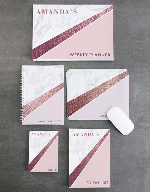 year-end: Personalised Marble Take Note Set!