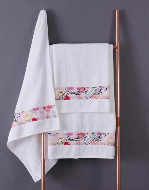 bath-and-body: Personalised Floral Blossoms White Towel Set!