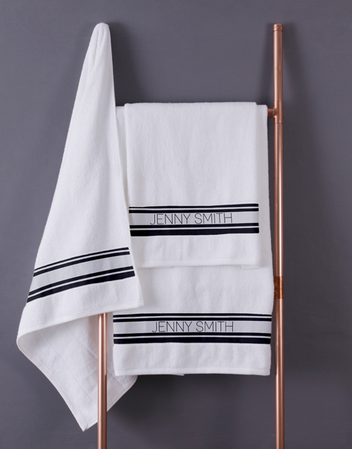 christmas: Personalised Modern Name White Towel set!