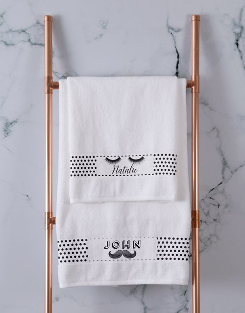 christmas: Personalised Stache and Lash White Towel Set!