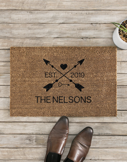 home-decor: Personalised Love Arrows Date and Surname Doormat!