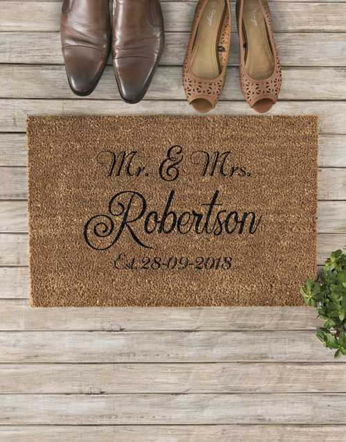 valentines-day: Personalised Mr And Mrs Date Doormat!