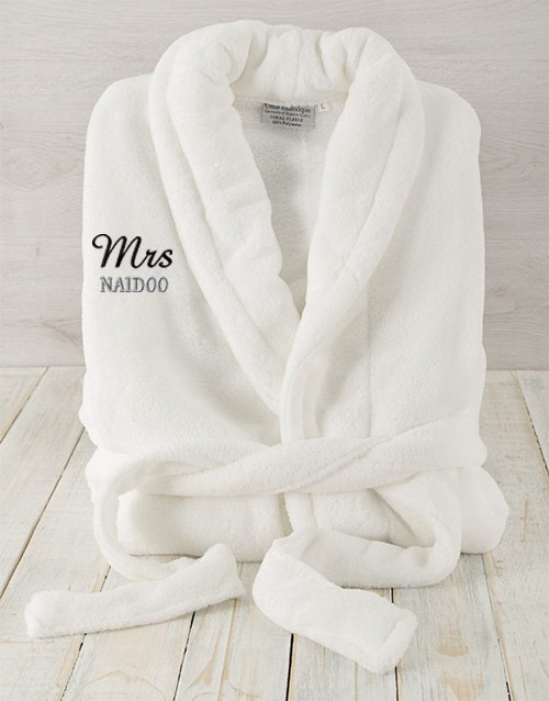 mothers-day: Personalised Mrs White Fleece Gown!