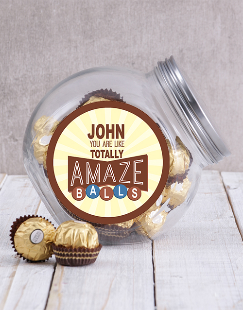personalised: Personalised Brown Amazeballs Candy Jar!