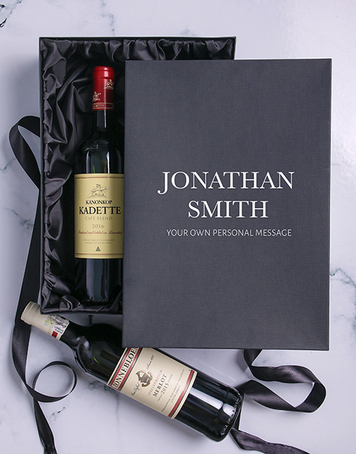 secretarys-day: Personalised Name and Message Red Wine Duo!