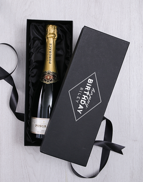 personalised: Personalised Happy Birthday Box with Champagne!