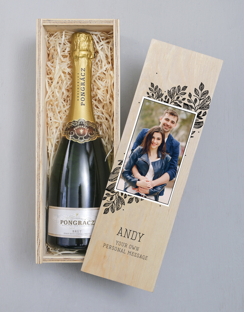 valentines-day: Personalised Photo Upload Wooden Champagne Crate!